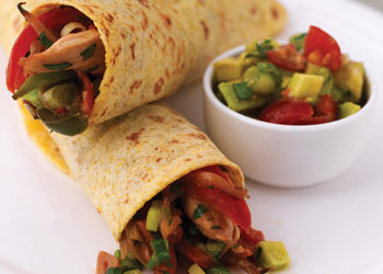 Chicken Fajitas with Tomato and Avocado Salsa