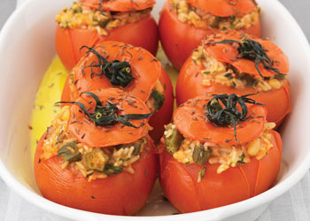 Tomatoes Stuffed with Okra and Rice