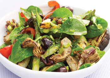 Grilled Vegetables and Spinach Salad