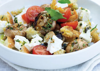 Grilled Mushrooms with Croutons, Cherry Tomatoes, and Feta