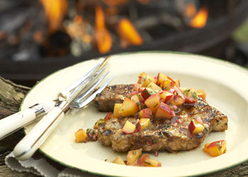 Latin-Style Grilled Pork Chops with Peach-Chipotle Salsa