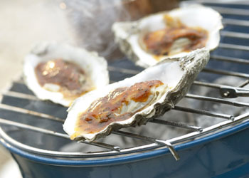 Grilled Oysters on the Half-Shell with Pancetta and Barbecue Sauce