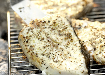 Coriander-Crusted Grilled Halibut Steaks with Fresh Tomato-Mint Chutney