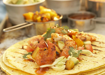 Roll-Your-Own Grilled Shrimp Tacos with Ancho Chile Sauce