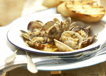 Grilled Clams in Chile-Butter Sauce