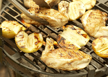 Grilled Bone-in Chicken Breasts with Grilled Apples and Golden Raisin Vinaigrette