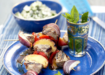 Lamb and Peach Skewers with Cucumber-Feta Relish