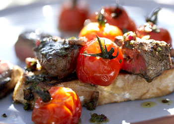 Open-Faced Grilled Sirloin and Tomato Sandwiches