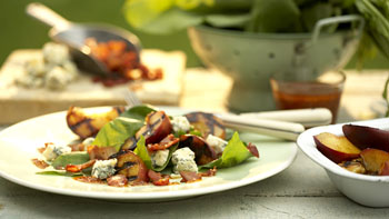 Spinach and Grilled Peach Salad with Blue Cheese, Bacon, and Sweet-and-Sour Dressing