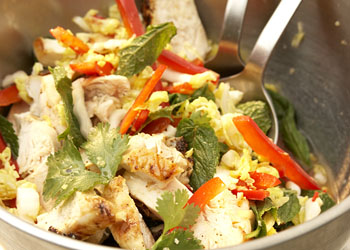 Southeast Asian-Style Cabbage Salad with Grilled Chicken