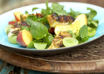Grilled Curry Chicken with Watercress, Grapes, Peaches, and Orange-Red Wine Vinaigrette