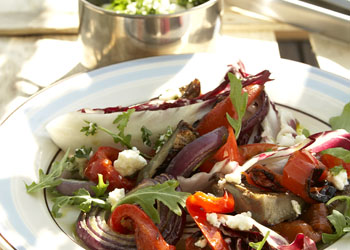 Grilled Artichoke, Arugula, and Radicchio Salad with Lemon-Feta Dressing