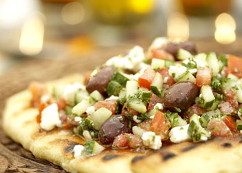 Mediterranean Chopped Salad on Grill Bread