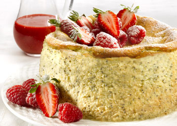 Lemon Poppy Seed Cheesecake with Berry Purée