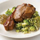 Marinated Lamb Chops with Broccoli in Lemon Juice