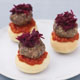 Beef Mini-burgers on Pizza Bases with Chile and Beet Salad