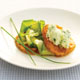 Crisp Sweet Potato Cake with Shaved Zucchini and Chive Mascarpone