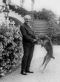 President Harding with his dog, Laddie