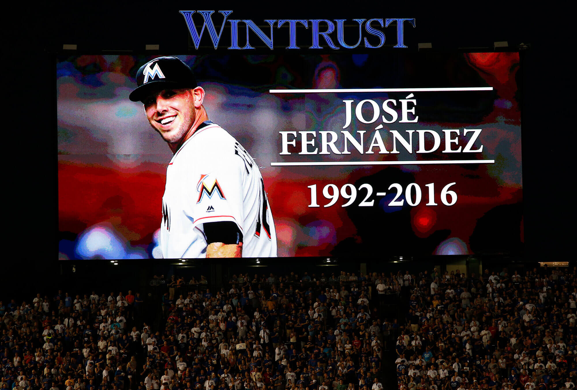 Image of Jose Fernandez being remembered at a baseball game