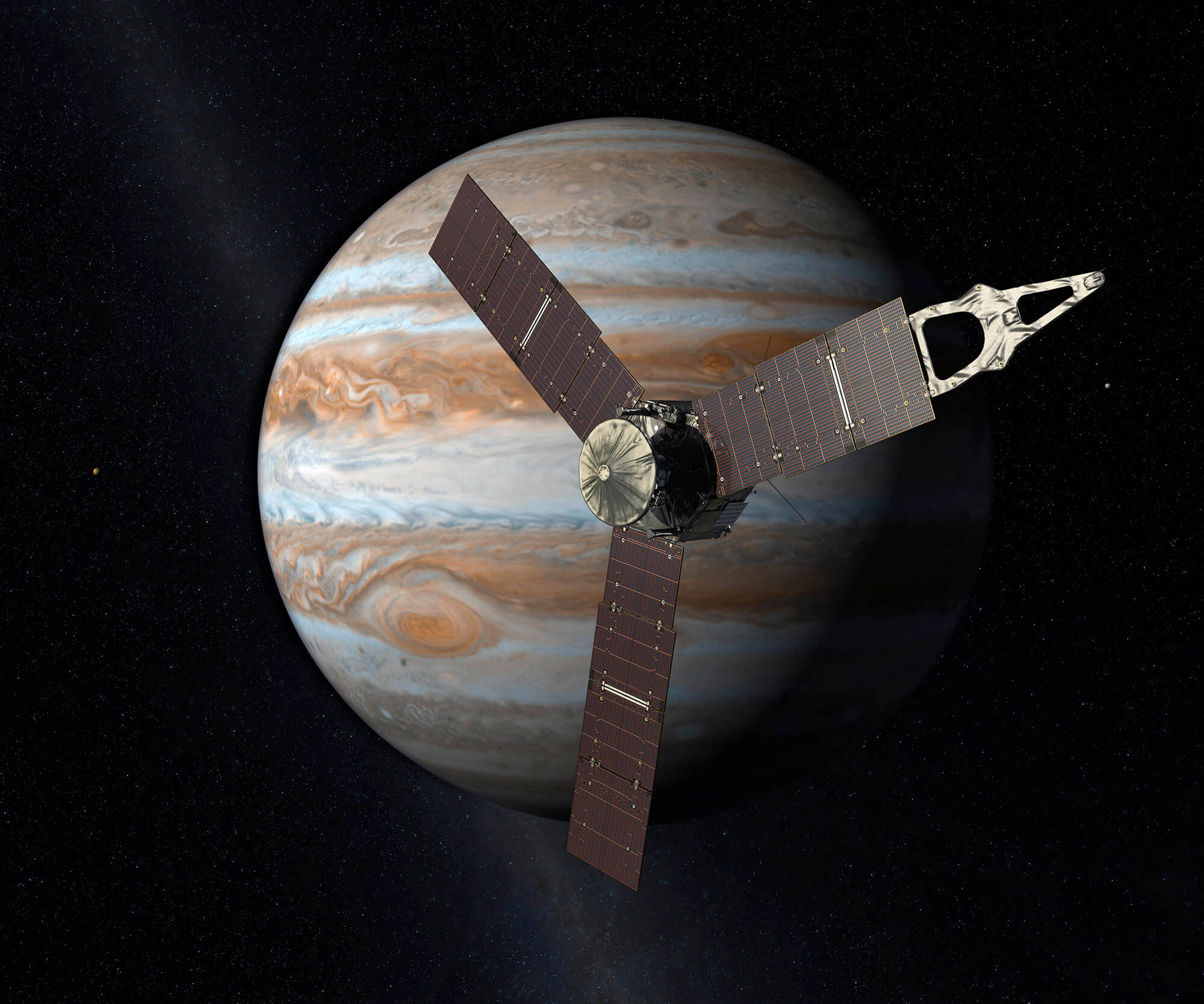 Digitally made image of Juno next to Jupiter.