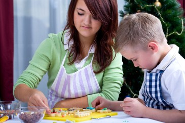 traditional christmas activity, kids make christmas cookies