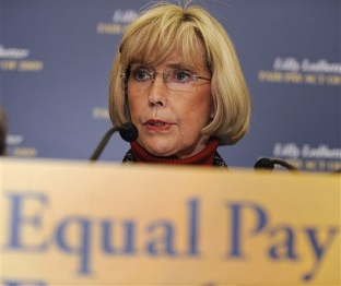 lily ledbetter speaking at a news conference about the wage gap