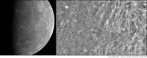 This computer generated photomosaic from Mariner 10 is of the southern half of Mercury's Shakespeare Quadrangle, named for the ancient Shakespeare crater located on the upper edge to the left of center.