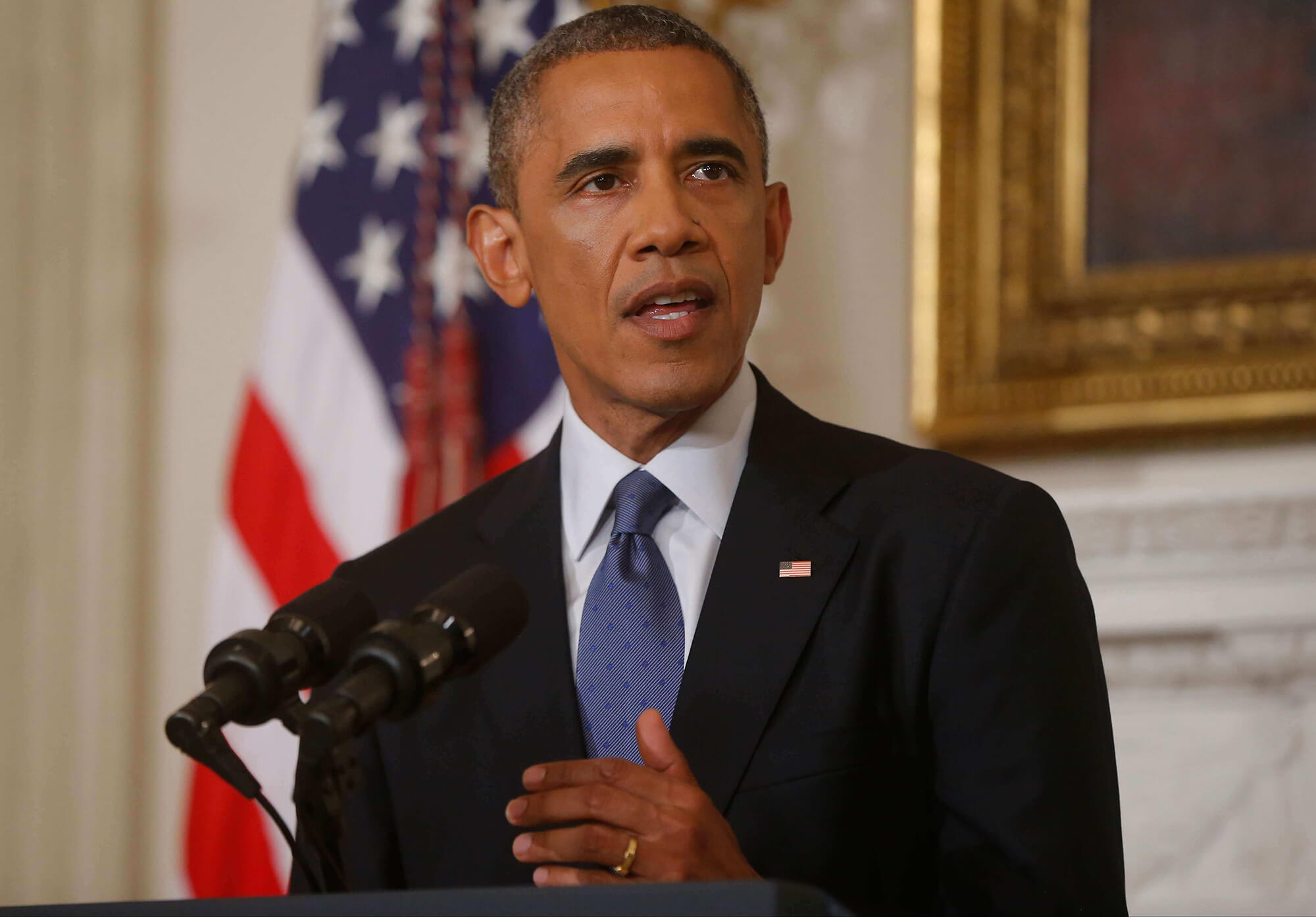 President Barack Obama discusses foreign policy