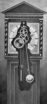 illustration of the workings of a pendulum clock