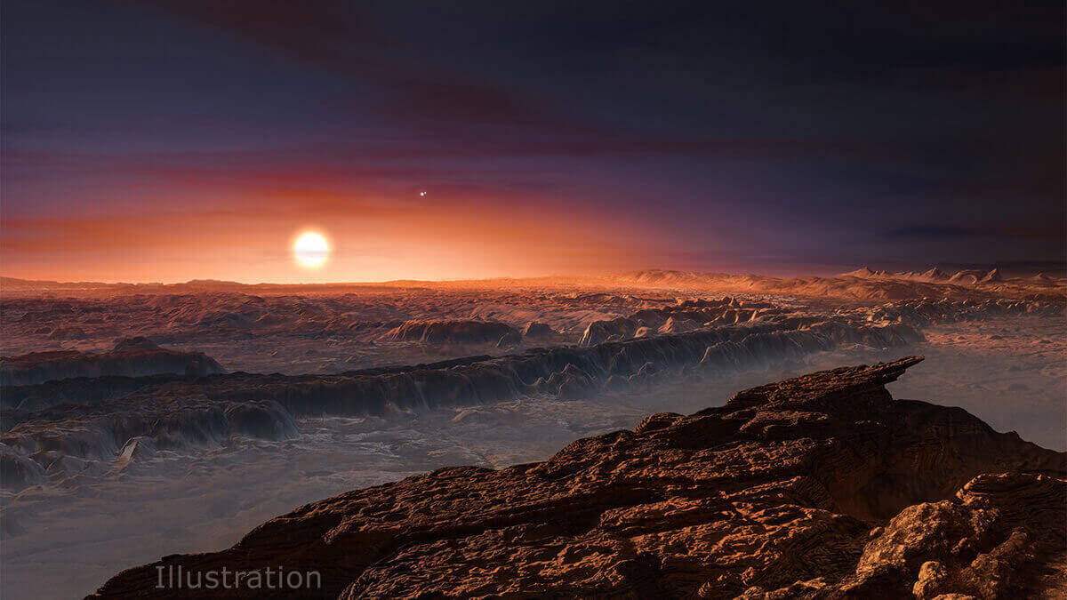 An artist's impression of the surface of the newly-discovered planet Proxima b