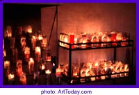 candles at religious shrine