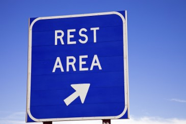 Tips for Road Trips and Car Travel with Kids, rest area highway sign