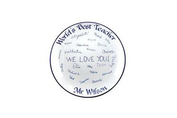 teacher gift, personalize plate signed by students