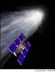 Artist Rendering of Stardust Comet Wild-2 Encounter