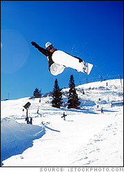 Snowboarder in Half Pipe