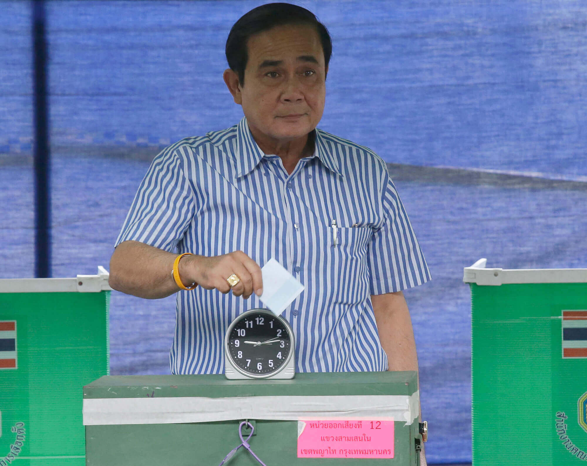 Image of Thailand's Prime Minister Prayuth Chan-ocha casting his vote
