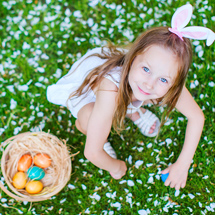 Girl with Easter eggs & Easter bunny costume