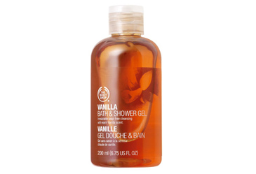 teacher christmas gift, body shop vanilla shower gel