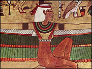 Wall painting depicting the Ancient Egyptian Godess Isis