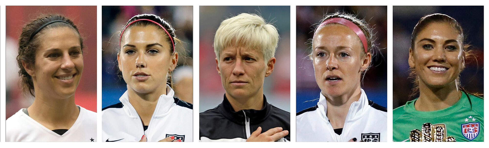 picture of Carli Lloyd, Alex Morgan, Megan Rapinoe, Becky Sauerbrunn and Hope Solo